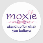 Moxie - levántese y crea etiqueta redonda