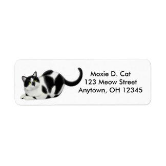 Moxie the Tuxedo Cat Avery Label