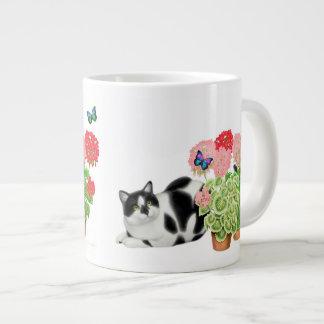 Moxie the Tuxedo Cat with Butterflies Mug