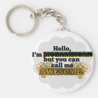 Mozambican, but call me Awesome Basic Round Button Keychain