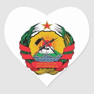 Mozambique Coat of Arms Heart Sticker