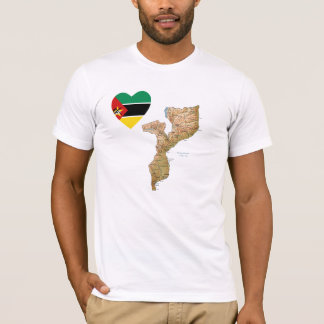 Mozambique Flag Heart and Map T-Shirt