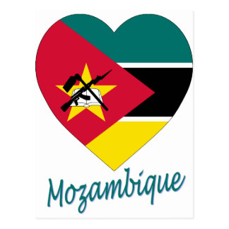 Mozambique Flag Heart Post Cards