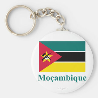 Mozambique Flag with Name in Portuguese Keychain