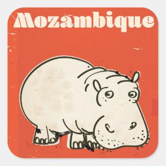 Mozambique hippo travel poster print square sticker