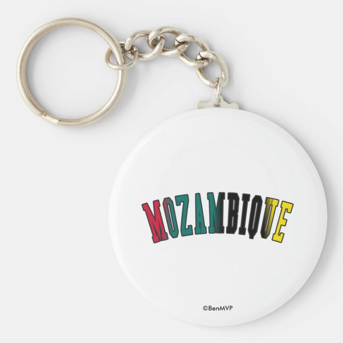 Mozambique in National Flag Colors Key Chain