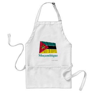 Mozambique Waving Flag with Name in Portuguese Aprons