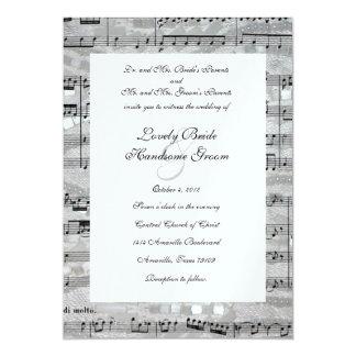 Mozart and Pearls Music Wedding Invitation