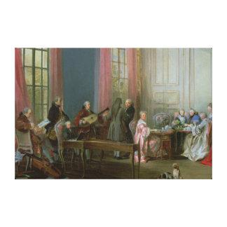 Mozart joven en el clavicordio impresión en lona estirada