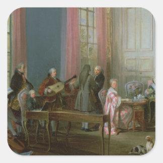 Mozart joven en el clavicordio calcomania cuadradas personalizada
