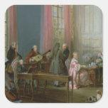 Mozart joven en el clavicordio pegatina cuadrada