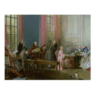 Mozart joven en el clavicordio tarjeta postal
