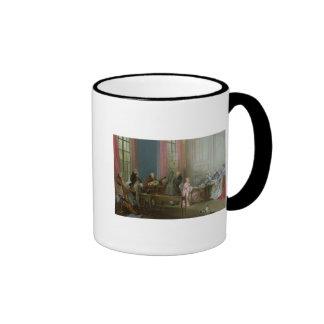 Mozart joven en el clavicordio tazas de café