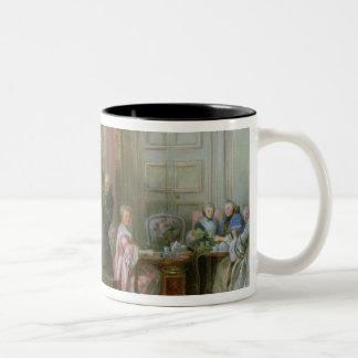 Mozart joven en el clavicordio taza de café