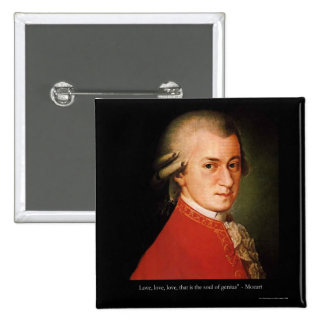 """Mozart """"Love Love Love"""" Quote Gifts & Collectibles 2 Inch Square Button"""