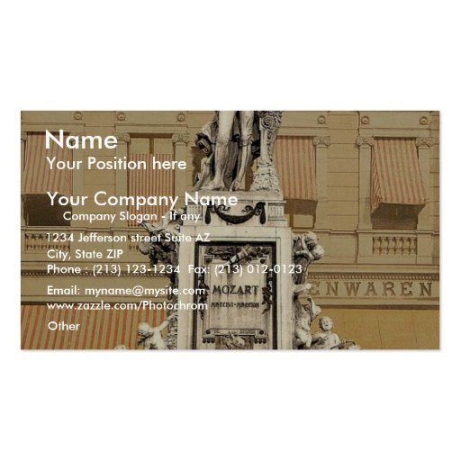Mozart Monument, Vienna, Austro-Hungary magnificen Double-Sided Standard Business Cards (Pack Of 100)