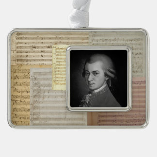Mozart Music Manuscript Medley with Portrait Ornament