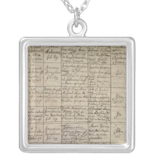 Mozart's entry in the baptismal register, 1756 silver plated necklace