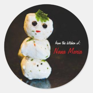 Mozzarella Ball Snowman Custom Food Gift Sticker