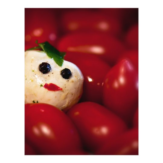 Mozzarella Ball Snowman Custom Recipe Flyer