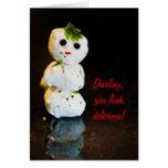 Mozzarella Ball Snowman Humor Greeting Cards