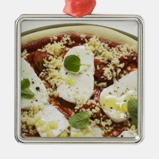 Mozzarella pizza (unbaked) metal ornament