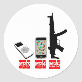 MP3 MP4 MP5 CLASSIC ROUND STICKER
