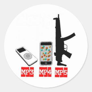 MP3 MP4 MP5 CLASSIC ROUND STICKER