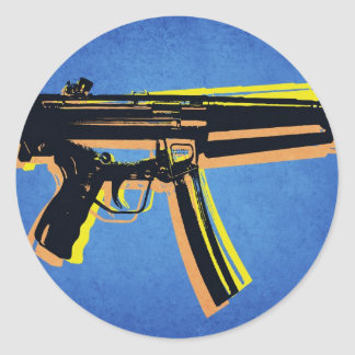 MP5 Sub Machine Gun on Blue Classic Round Sticker