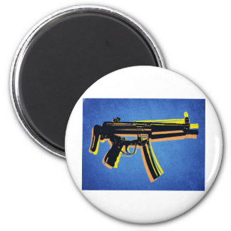 MP5 Sub Machine Gun on Blue Refrigerator Magnets