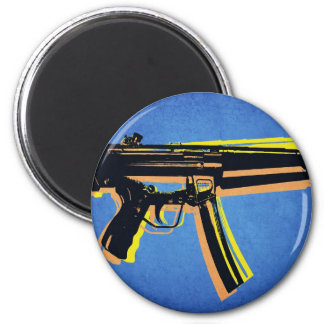 MP5 Sub Machine Gun on Blue Fridge Magnet