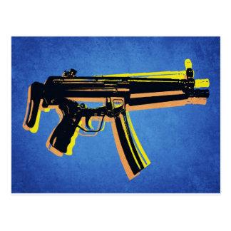 MP5 Sub Machine Gun on Blue Postcard