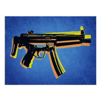 MP5 Sub Machine Gun on Blue Poster