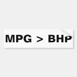MPG > BHP CAR BUMPER STICKER
