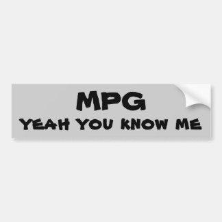 MPG usted me conoce sí Pegatina Para Auto
