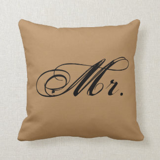"""Mr."" Accent Throw Pillow (Brown)"
