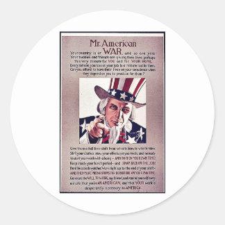 Mr.Americon War Round Sticker
