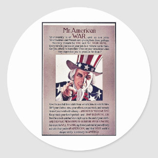 Mr.Americon War Classic Round Sticker