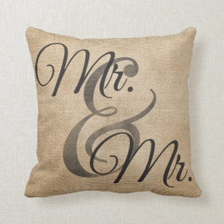 Mr and Mr Burlap Gay Wedding Personalized Throw Pillow