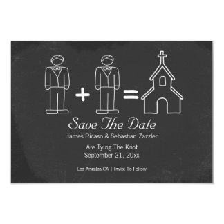 Mr and Mr Doodle Church Gay Save The Date Wedding Card