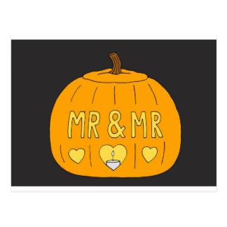 Mr and Mr Gay Halloween Pumpkin Postcard