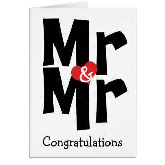 Mr and Mr Gay Wedding Black White Congratulations Card