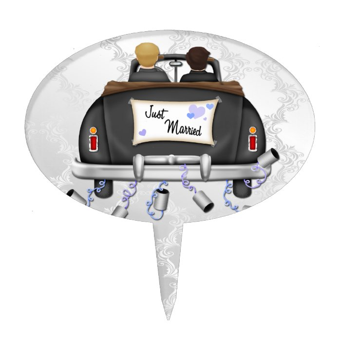 Mr and Mr Just Married Wedding Car Cake Topper