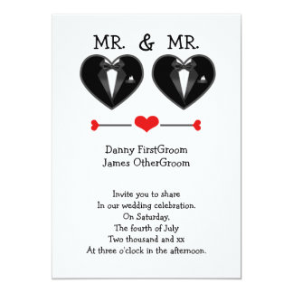 mr and mr love heart tuxedo gay wedding card