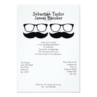 Mr and Mr Mustache And Glasses Wedding Card