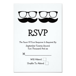 Mr and Mr Mustache And Glasses Wedding RSVP Card