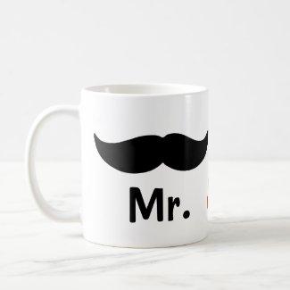 Mr And Mr Mustache Gay Wedding Mug