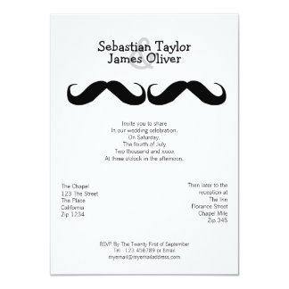 Mr and Mr Mustache Wedding Card
