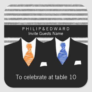 Mr and Mr Orange And Blue Gay Wedding Table Number Square Sticker