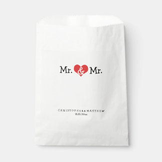 Mr and Mr Red Heart Wedding Personalized Favor Bags